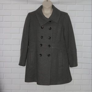 Anne Klein Sz XL Gray Jacket Coat Double Breasted